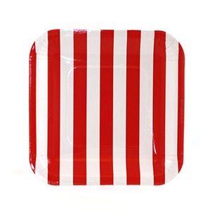 Teller Streifen rot Diese quadratischen Teller mit Streifen sind sicherlich ein Highlight auf dem Tisch. Schaut Euch die passenden Becher und Servietten an. Link: http://www.lapetiteparty.de/index.php?section=shop_product_detail&id=PP-00920&gruppe=party_themen_jungen_sharkparty