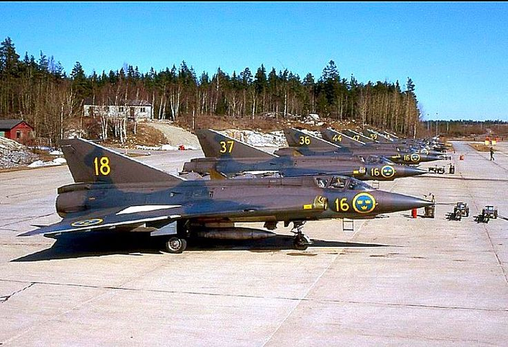 A lineup of Saab J35 Drakens of the Swedish Air Force.