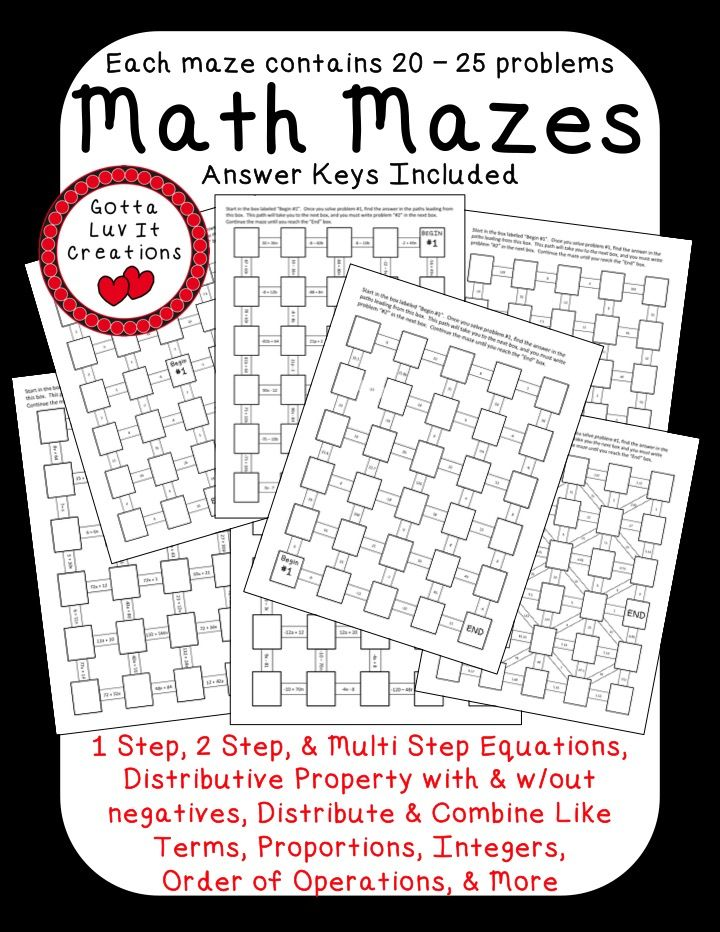 Worksheets Multi Operational Mathematical Maze 1000 images about algebra on pinterest simplifying expressions no prep ready to print math mazes covering the following concepts order of