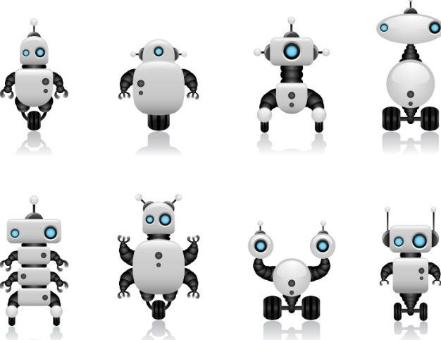free cute intelligent robot vector design materials 02