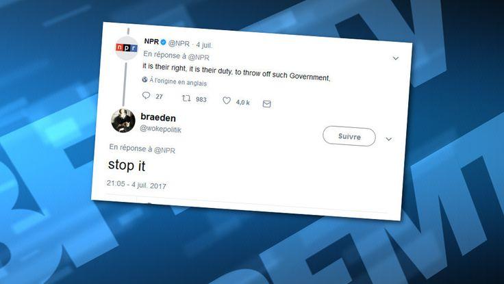 Le 4 juillet, jour de la fête nationale aux Etats-Unis, de nombreux supporters de Donald Trump n'ont pas reconnu le texte de la Déclaration d'indépendance, que la radio publique NPR avait choisi de tweeter en intégralité.