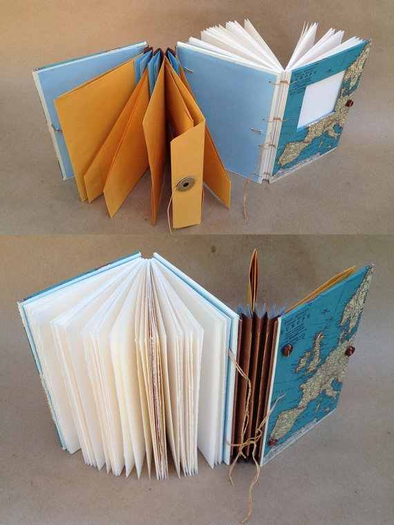 Compact Hybrid Travel Journal with Custom Map - Writing Journal with Pockets…
