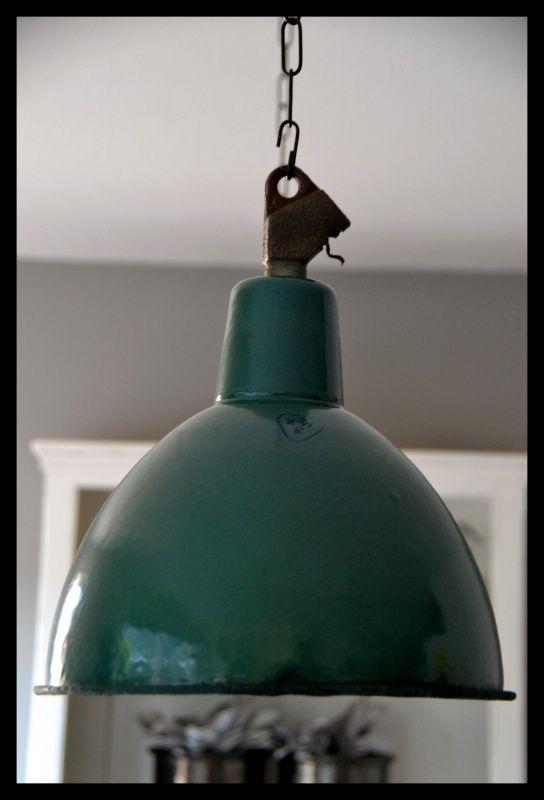 Groen emaille industrielamp, mooie vintage staat! | Industriële lampen | rikus75