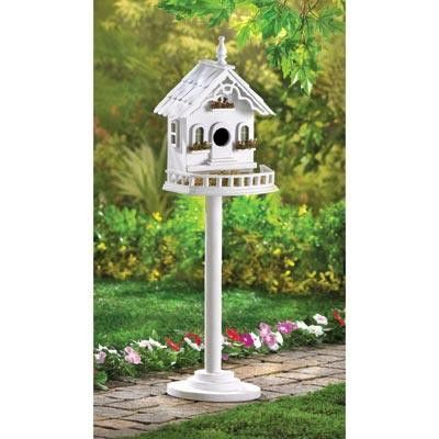 Freestanding Victorian Bird House. This little victorian bird house villa is covered in stylish details! Freestanding pole and base included. Wood. #luxuryvilla