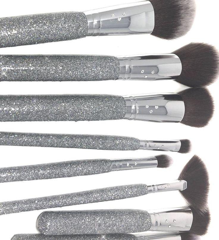 Glitter Swarovski Crystal Makeup Brush Set of 14 Silver