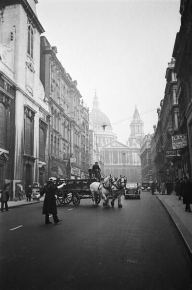 The view east down Ludgate Hill in London, towards St Paul's Cathedral, 19th April 1941. Original Publication : Picture Post - 973 - London Carter - pub. 1941 (Photo by Bert Hardy/Picture Post/Hulton Archive/Getty Images) #london #war #East_End
