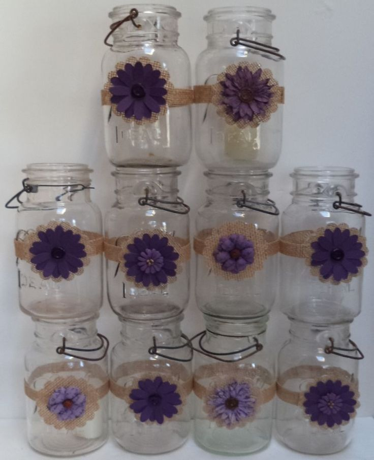 10 Burlap Mason Jar Plum Purple Country Rustic Wedding Party Shower Wraps A3 BurlapBrides