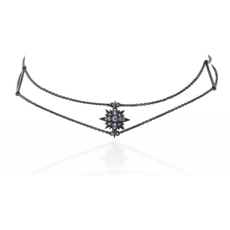 Starburst black gold vermeil chain choker with white stones