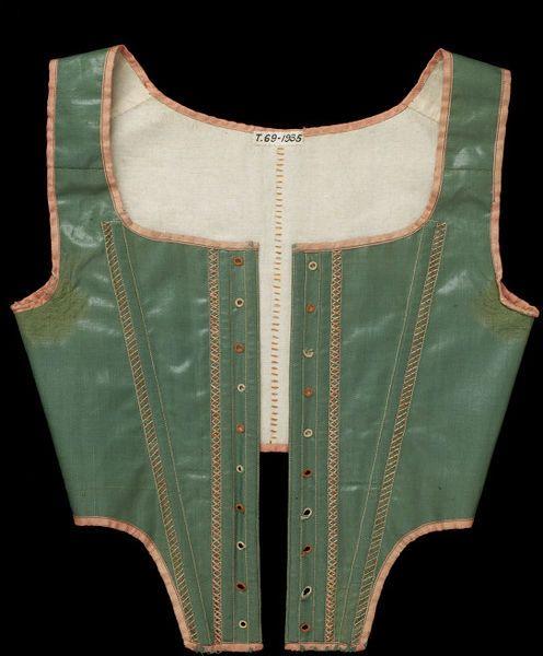 1790-1795, United Kingdom - Stays - Glazed wool