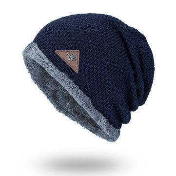 55c3e6f222f26e Men Warm Winter Solid Knit Beanies Hat Outdoor Ski Lining Plus Plush  Skullies Beanie Hat
