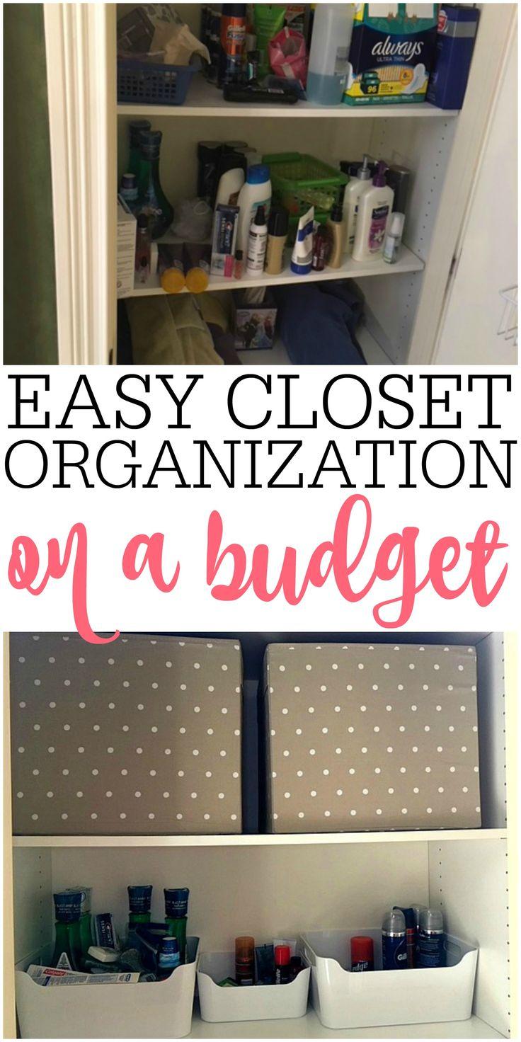 Easy Bathroom Closet Organization On A Budget via @juliefrugally