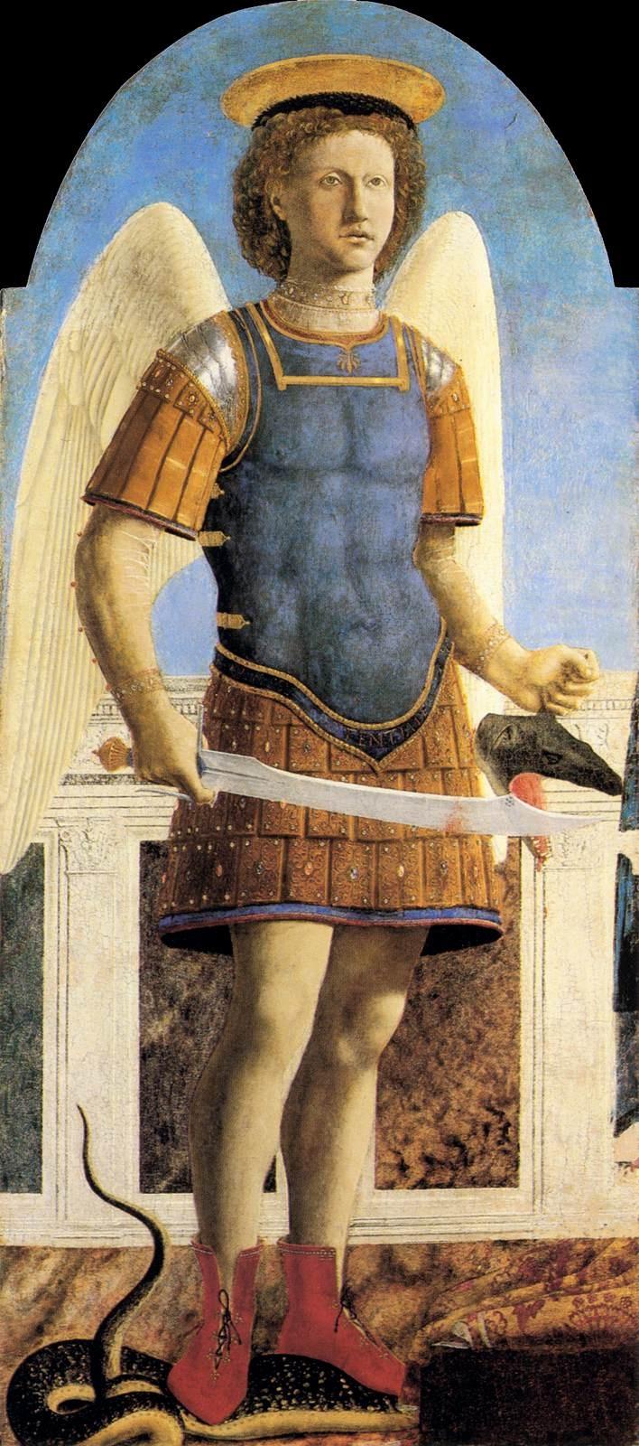 Polyptyque des Augustiniens - Saint Michel Archange Piero Della Francesca 1454-1469 Technique Tempera 133x60cm Exposé à Londres (Angleterre) au National Gallery