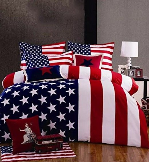 American Flag Bedding Set 6-Piece Twin Comforter with Red White & Blue