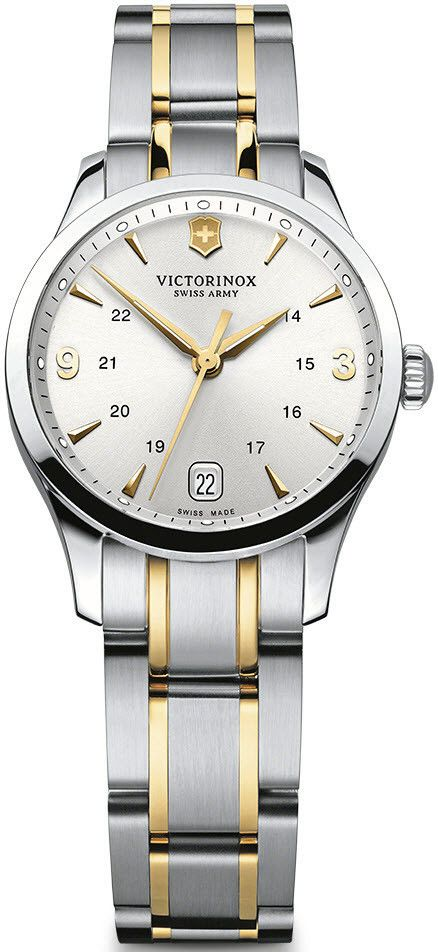 Victorinox Swiss Army Watch Alliance Small #bezel-fixed #bracelet-strap-gold #brand-victorinox-swiss-army #case-material-steel #case-width-28mm #classic #date-yes #delivery-timescale-call-us #dial-colour-silver #gender-ladies #movement-quartz-battery #official-stockist-for-victorinox-swiss-army-watches #packaging-victorinox-swiss-army-watch-packaging #style-dress #subcat-alliance #supplier-model-no-241543 #warranty-victorinox-swiss-army-official-3-year-guarantee #water-resistant-100m