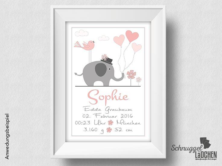 Geburtsanzeige+personalisiert+Elefant++von+Schnuggellaedchen+auf+DaWanda.com