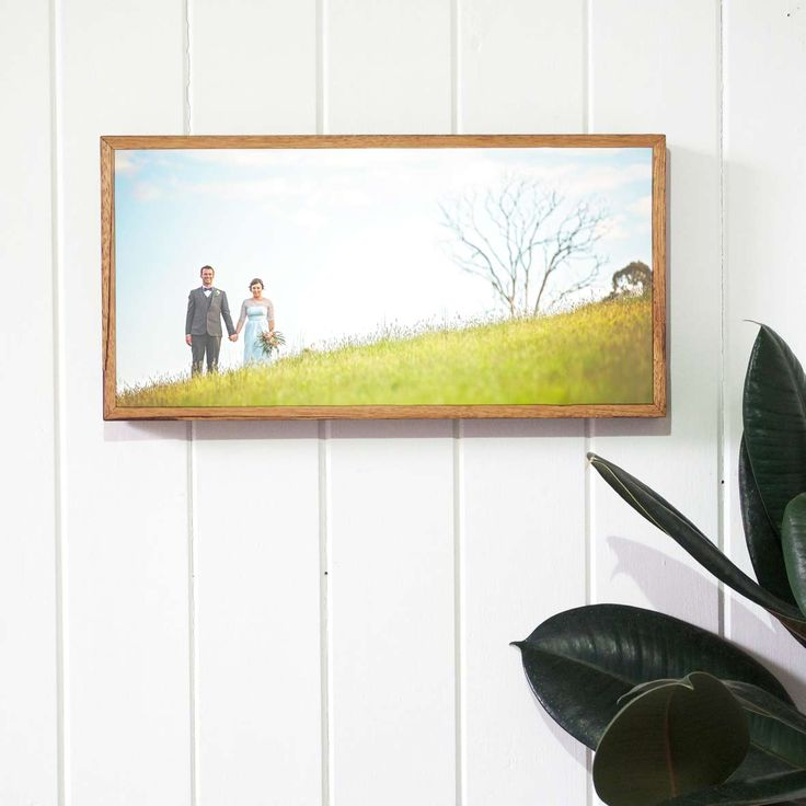 Wedding photo printed on stone and framed with reclaimed timber. Print your photos on stone with Imogen Stone. Photograph by Graeme Passmore Photography