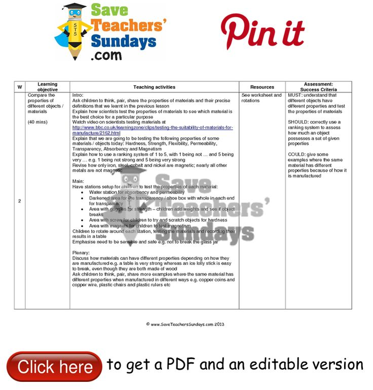 22 best images about Properties and Changes of Materials lesson – Lesson Plan Worksheets