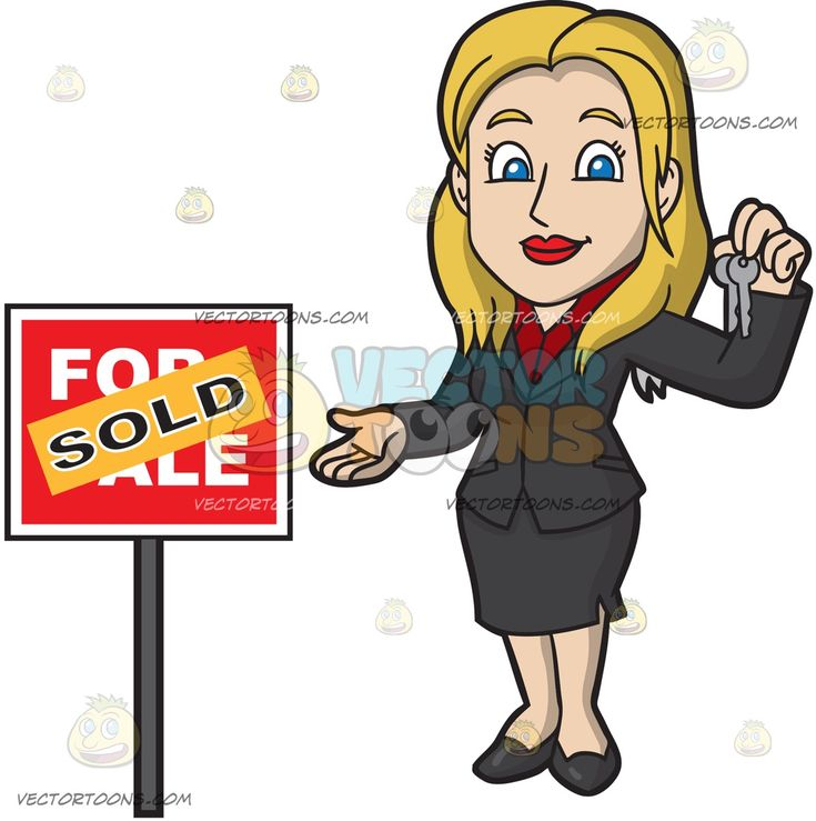 A Nice Female Real Estate Agent:   A woman with blonde hair wearing a red blouse with collar a black dress jacket skirt and shoes smiles while holding two sets of house keys while standing beside a red for sale sign with an orange sold sticker plastered on it