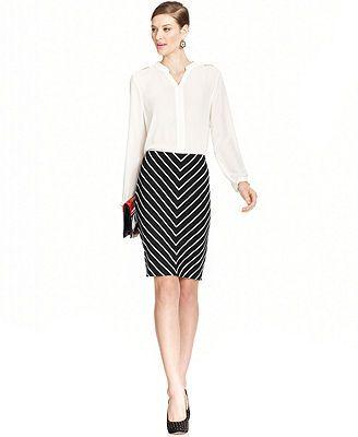 Grace Elements Chevron-Print Pencil Skirt