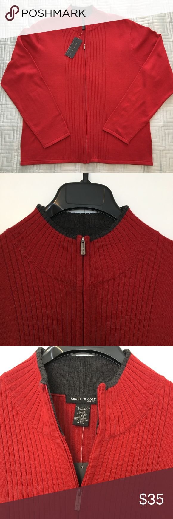 NWT Mens Full Zip Sweater New with tags Mens Kenneth Cole full zip sweater. Kenneth Cole Sweaters Cardigan