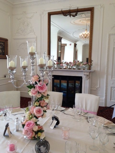 Candelabra flowers spiral in pink and peach