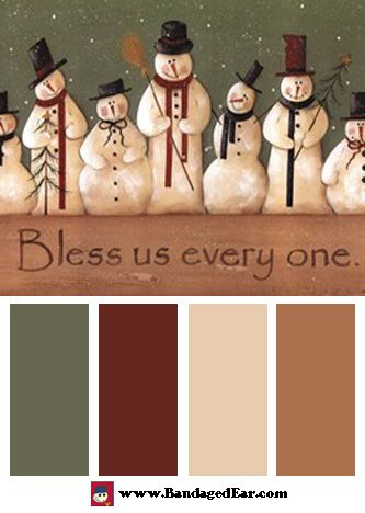 Christmas Color Palette: Bless Us Every One, Art Print by Jill Ankrom
