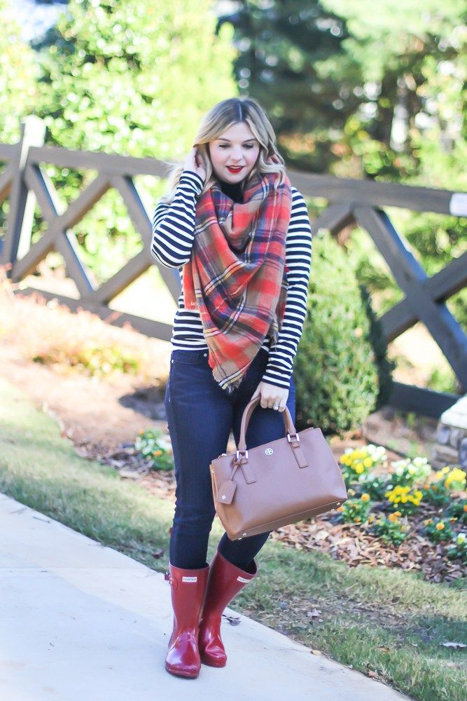 Blanket scarf, stripes and plaid, fall outfit ideas, red lips, red rain boots, short Hunter rain boots.