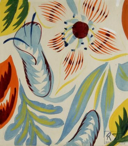 Raoul Dufy | composition avec des fleurs | watercolor + pencil on vellum | design for Bianchini-Férier: silk manufacturers: Lyon | France | c. 1920