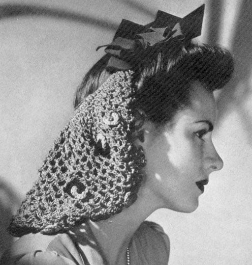 The 1930's Snood  Schiaparelli also introduced a Victorian revival in the form of the modern snood in 1935.  The snood became a mainstay method of keeping hair free from machinery in wartime Britain.  Since the snood was crocheted it was also easy to copy and knitting and crochet and tatting patterns appeared in magazines everywhere.