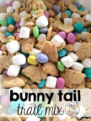 Simple recipe for Bunny Tail Trail Mix makes a great teacher gift for Easter. Free gift tags too!