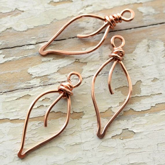 3 Leaves Solid Copper Wire, Small - Handmade Wirework Connector, Charm, or Pendant Pure Copper Leaf