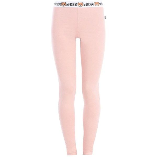 Moschino Leggings ($95) ❤ liked on Polyvore featuring pants, leggings, skin color, jersey pants, pink leggings, moschino, legging pants and cotton trousers