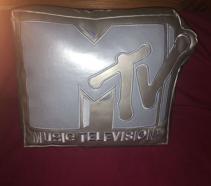 2005 Rare MTV Music Television Silver & Blue Leather Throw Pillow