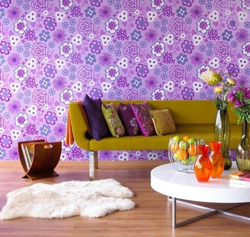 Violet living spacePurple Interiors, Living Spaces, Interiors Design, Living Room, Wallpapers, Throw Pillows, Products Design, Modern Interiors, Modern Design