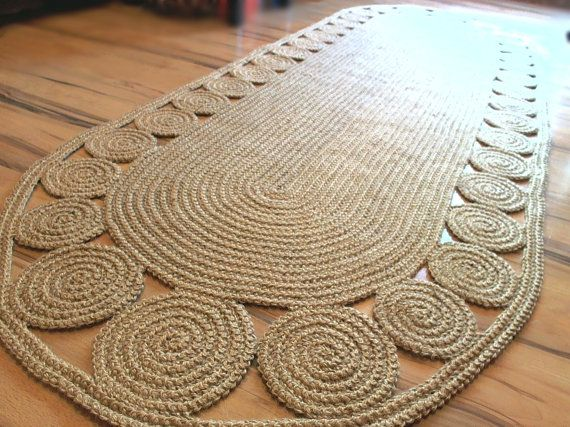 9 x 3 ft Unique decorative jute rug oval Crochet / by GreatHome,