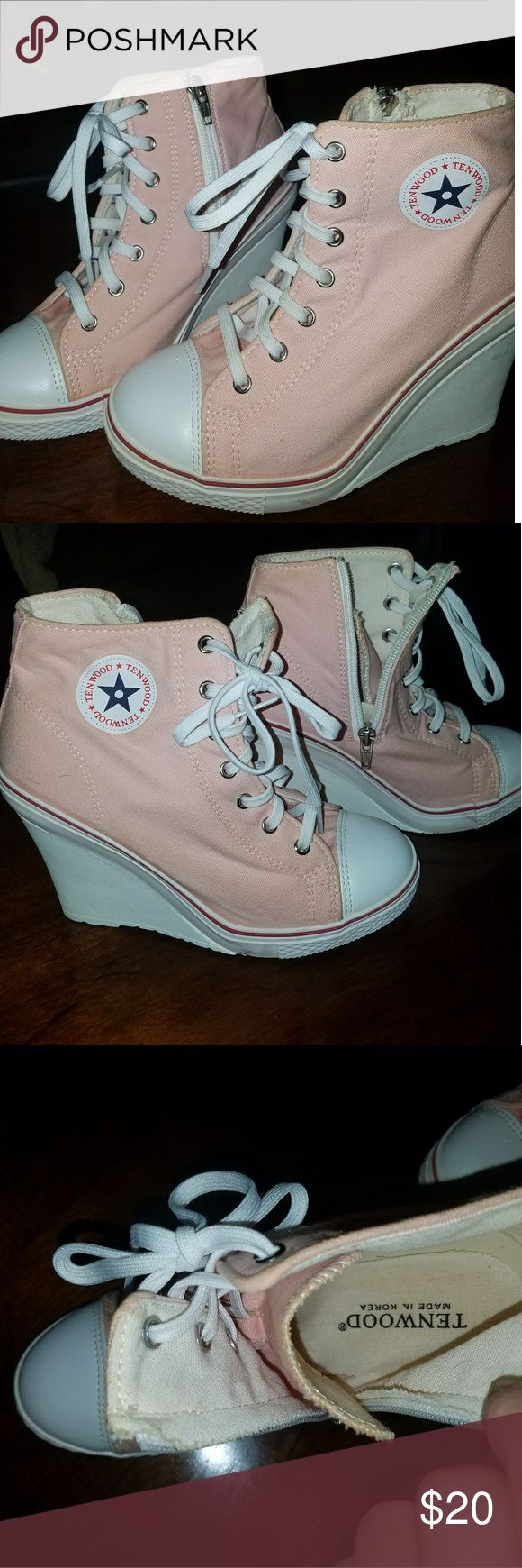 Pastel pink tenwood tennis shoes Wedges,tennis shoes,EUC, WORN a few hours, they're not the most comfortable (meaning the inner soles)but are cute!THESE ARE NOT CONVERSE Tenwood Shoes Sneakers