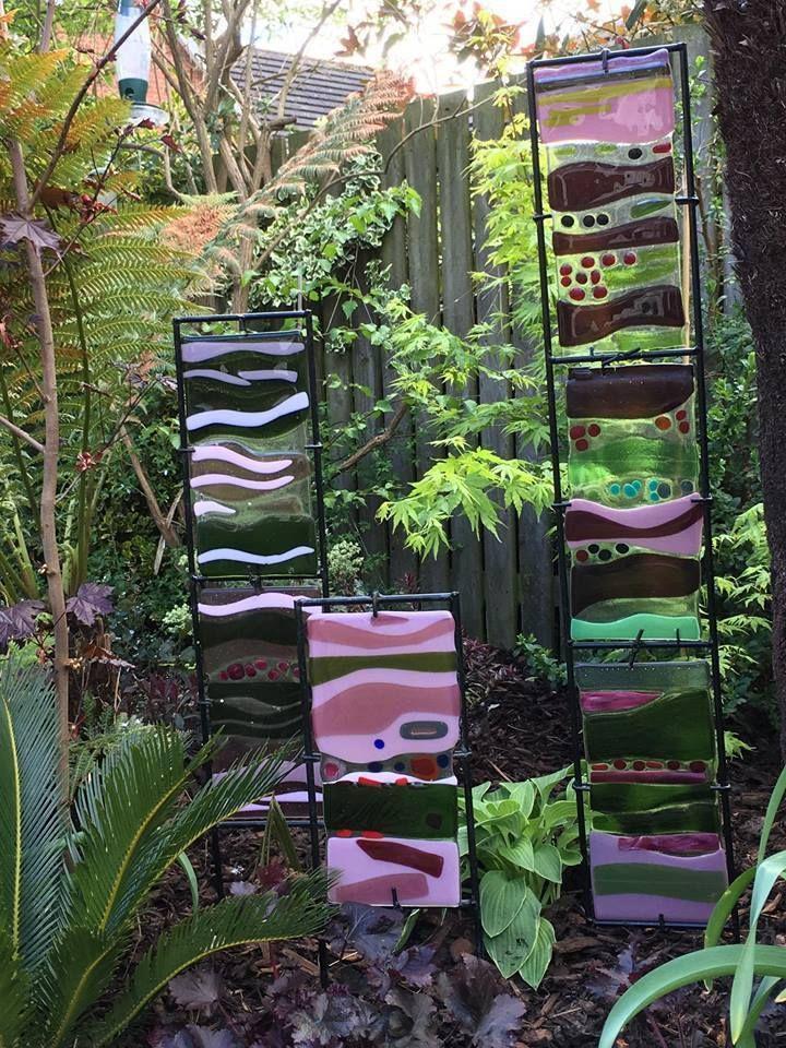 Beautiful Fused Glass Garden Panels Original Artwork