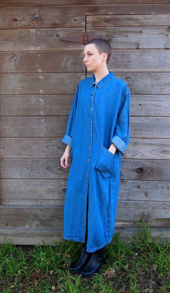Long Denim Shirt Dress Duster on Etsy, $70.00