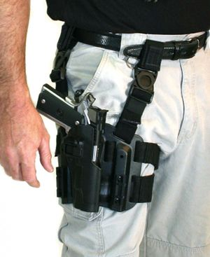 Blackhawk Tactical Thigh Holster with Serpa Lock System. Getting this, or one similar soon
