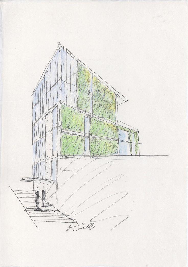 Tadao Ando's sketch of living wall of 152 Elizabeth Street, Manhattan