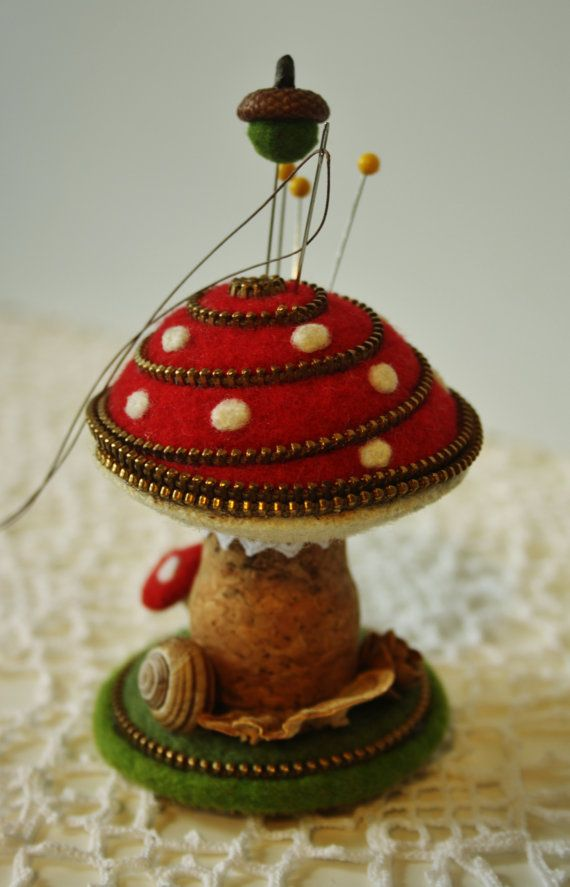 Felt mushroom arrangement / pin cushion by woollyfabulous on Etsy, $48.00