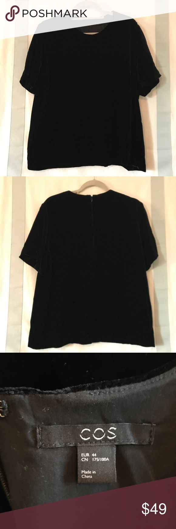 COS Black Velvet Top. NWOT size 44 / US 14. COS Black Short Sleeve Velvet Top. NWOT & never worn was a gift and just doesn't fit me properly. size 44 / US 14. COS Tops