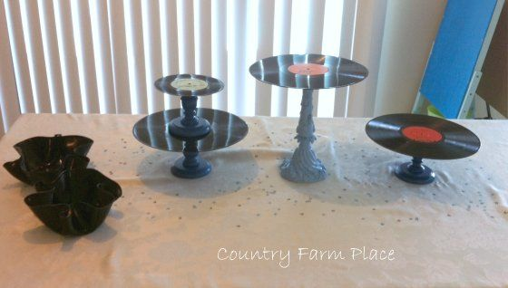 Country Farm Place: DIY Vintage Record Cake Stands