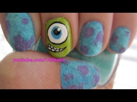 Monsters Inc. Velvet Nails - YouTube. Omg these are amazing!