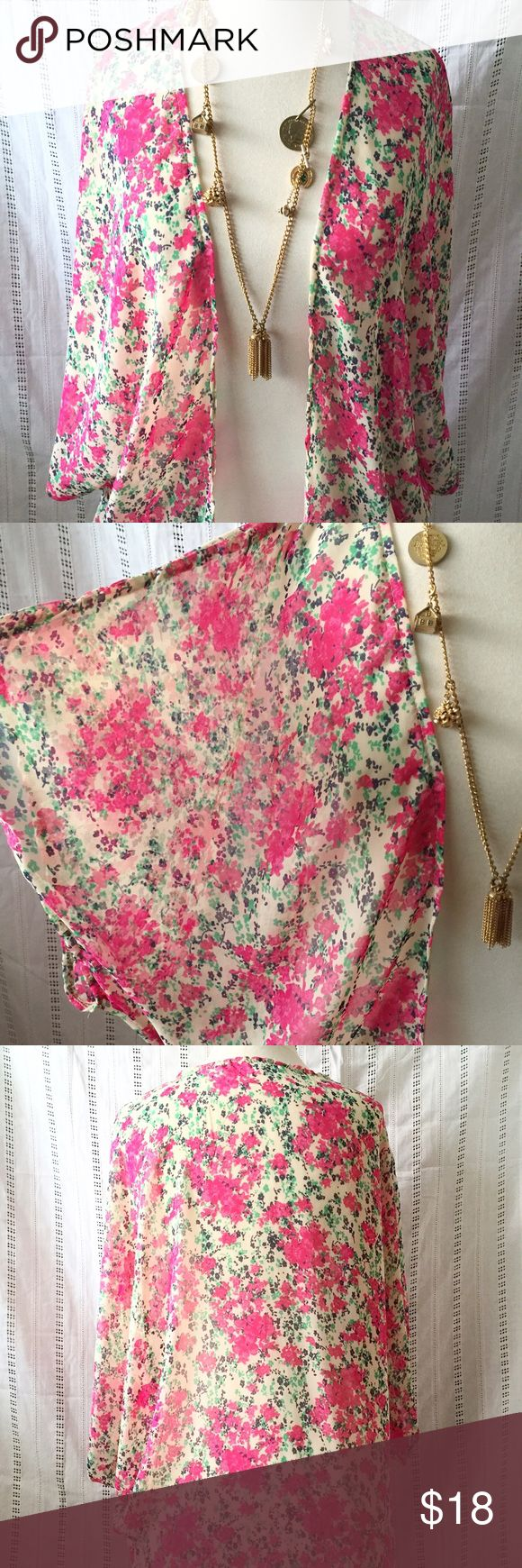 """Charlotte Ruse Ivory Floral Kimono Small Charlotte Ruse Ivory with floral print sheer kimono, in excellent condition. Small. Measurements:  Shoulder to shoulder: 18"""" Sleeve length: 8"""" Length: 28"""" Charlotte Russe Other"""