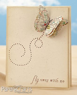 handmade greeting card ... colors suggest Vintage ... clean and simple ... pierced loopy trail leads up to butterfly ... butterfly made from punched layers of old maps ... great card by Alyssa Scritchfield ... Moxie Fab