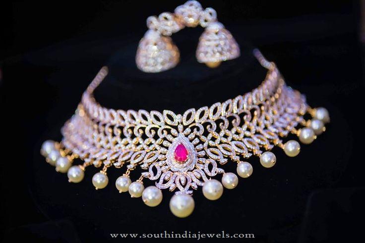 Designer Diamond Necklace Set with Jhumka, Gold Choker Necklace with Diamonds, Diamond Choker and Jhumka Models
