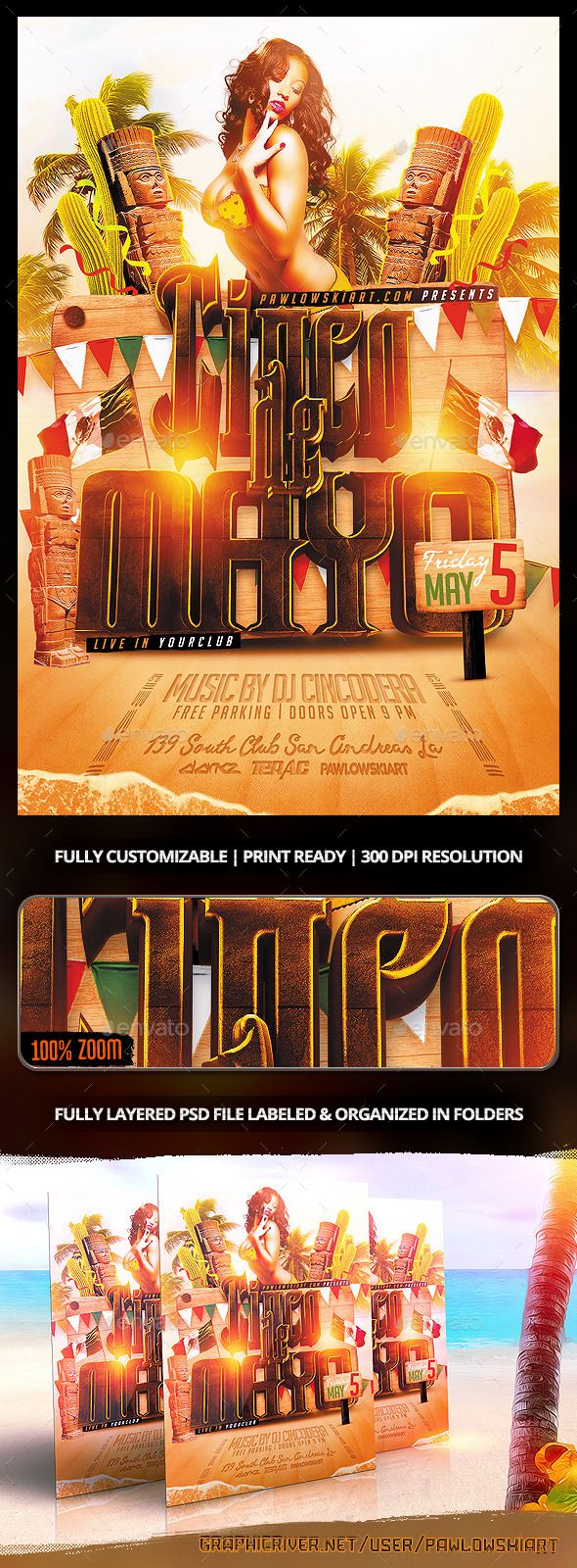 Cinco de Mayo v2 Flyer Template - Holidays Events