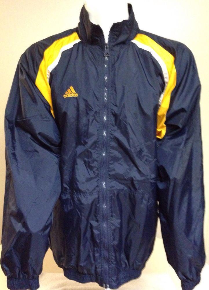 Adidas Blue Yellow White X-Large Zip Up Windbreaker Jacket XL #adidas # Windbreaker | Windbreakers & Jackets | Pinterest | Man shop
