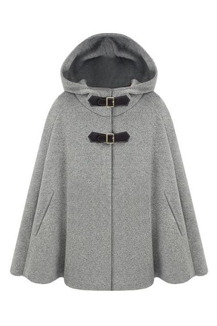 Single Breast Grey Hoody Cape ADORE